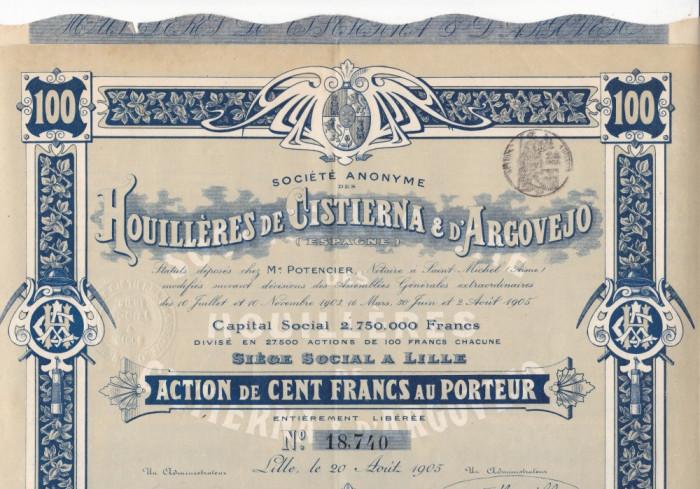Houilleres de Cistierna & d'Argovejo actiune 100 franci 1905 Franta minerit