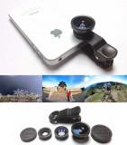 Set lentile foto zoom 3-in-1 pentru telefoane sau tablete, FISHEYE, MACRO si WIDE ANGLE