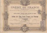 Credit de France  actiune 500 franci 1882  Franta bancar, Europa