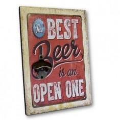 Tablou lemn desfacator The best beer is an open one 23 5 x 33 5 cm