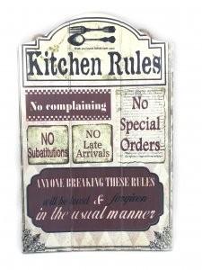 Tablou Motivational Kitchen Rules 30 x 46 cm