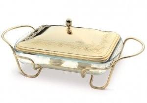 Vas placat cu aur galben PORTA Pirex FILO ROSE termorezistent cu capac si suport cu manere by Chinelli made in Italy