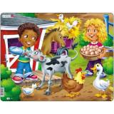 Puzzle Copiii la Ferma cu Vitel, 18 Piese, LARSEN