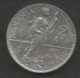 ROMANIA  2  LEI  1912   [3]  Argint 835 / 1000 ,  XF++  ,  livrare  in  cartonas