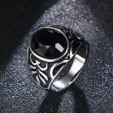 Inel barbati argintiu cu piatra neagra