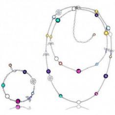 Set Borealy Simulated Sapphire Medalion Cercei si Bratara Opera Long Luxury
