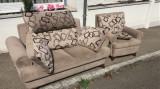 Canapea cu fotoliu, extensibila, piele intoarsa