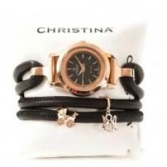 Ceas pentru Mama cu Diamant Natural Personalizabil Piele Naturala Rose Black Christina