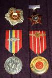 Lot 4 Medalii comuniste din 1968-1974, 50 ani PCR, A 30-a Eliberare RSR, Fruntas