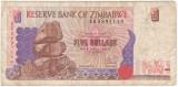 ZIMBABWE 5  dolari 1997 F P-5a