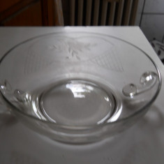 Vas cristal, cu 2 anse, gravat manual, diam.20cm., h 6cm