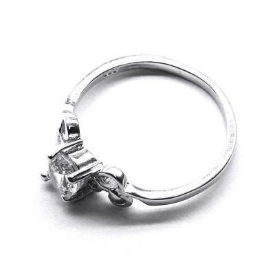 Inel elegant din argint 925 rodiat cu zirconii foto mare