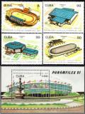 Cuba, sport, stadioane, 1991, serie si colita, MNH, Nestampilat