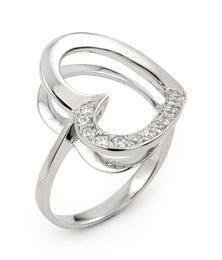 Inel argint 925 in forma de inimioara cu zirconii foto mare