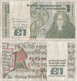 1979 (27 IX), 1 pound (P-70b.6) - Irlanda! (CRC: 100%) (prezinta reparatie)