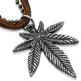Pandant frunza de Marijuana cu lant militar si snur piele