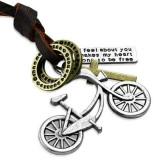 Pandant bicicleta cu snur din piele si cruce
