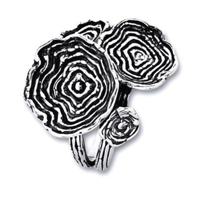 Inel argint 925 lucrat manual buchet de flori foto mare