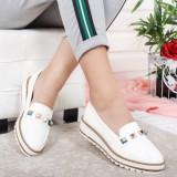 Pantofi Ojala albi casual