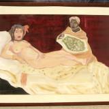 Tablou Tanara Nud in iatac cu sclava ulei pe panza inramat 63x83cm, Altul