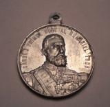 Medalie Regele Carol I si Imparatul Traian 1866 1906 - 40 Ani de Domnie Aluminiu
