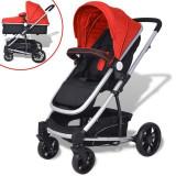 Căruț/cărucior pentru copii 2 în 1 din aluminiu, roșu și negru