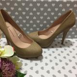 NOU Pantofi cu toc stiletto inalt bej piele sarpe ATMOSPHERE dama 40 - 41