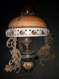Superbă lampă de tavan antica din majolica cu bronz