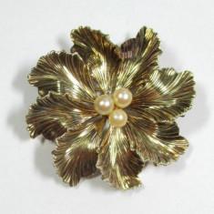 Brosa Aur 585 Vintage Cu Perle Akoya Reducere