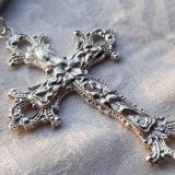Medalion argint CRUCE CRUCIFIX vechi MASIV superb FRANTA 1900 +Lant MASIV argint