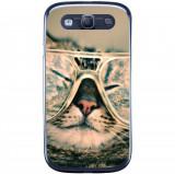 Husă Hipster Cat Samsung Galaxy S3 Neo I9301 S3 I9300, Silicon, Husa
