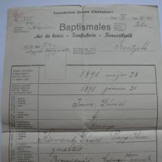 Act de botez catolic - Baptismales, emis in Oradea, in 1940