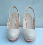 Pantofi dama de vara sandale platforme cu toc Zara Woman, 39, Bej