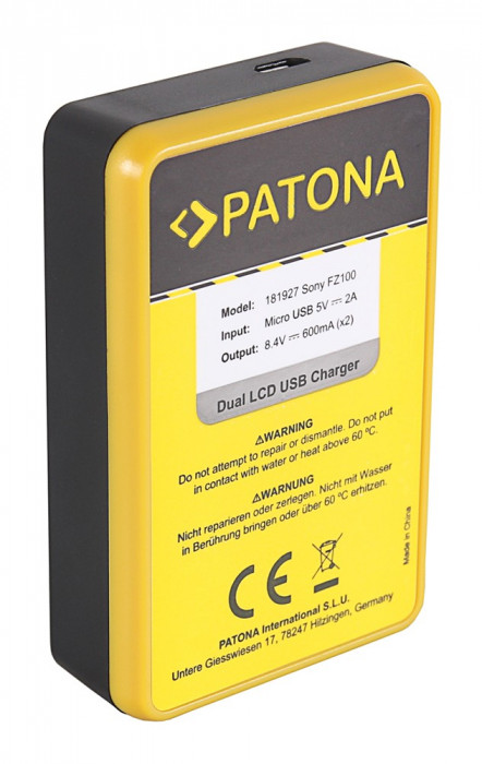 PATONA | Incarcator DUAL USB cu display LCD pt Sony NP-FZ100