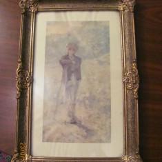 """CY - Rama veche lemn tablou estetica deosebita doua mici """"ciobituri"""" 1964"""