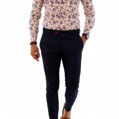 Camasa Premium roze cu imprimeu floral - camasa barbati - slim fit - A2064 5-1, XL, Maneca lunga, Din imagine