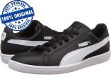 Pantofi sport Puma Smash pentru femei - piele naturala - adidasi originali, 37.5, Negru
