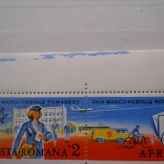 1987  LP 1190  ZIUA MARCII POSTALE ROMANESTI  cu vigneta