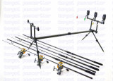 Kit Crap 3 lansete Avenger 3,6 m  3 mulinete KT5000A cu 9 rulmenti rod pod full