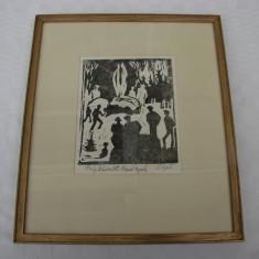 Impresionanta grafica realizata pe carton semnata indescifrabil, Scene gen, Cerneala, Avangardism