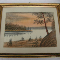 Pictura pastel pe hartie pictor strain neidentificat, Peisaje, Realism