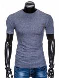 Tricou pentru barbati, bleumarin, buzunar piept, slim fit, mulat pe corp, bumbac - S885, L, XL