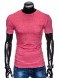 Tricou pentru barbati, rosu, buzunar piept, slim fit, mulat pe corp, bumbac - S885, L, M, S, XL, XXL