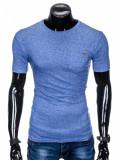 Tricou pentru barbati, albastru, buzunar piept, slim fit, mulat pe corp, bumbac - S885, L, S, XL, XXL