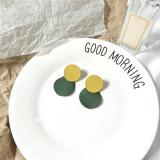 Cercei rotunzi, disc verde si bej