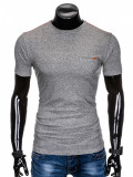 Tricou pentru barbati, gri, buzunar piept, slim fit, mulat pe corp, bumbac - S885, L, M, S, XL, XXL