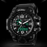 Ceas Military SKMEI mare 2 fusuri orare, cronograf, data, waterproof 50M inot, Lux - sport, Quartz, Inox