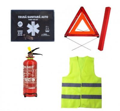 Pachet urgenta - trusa medicala, triunghi, stingator reincarcabil, vesta foto