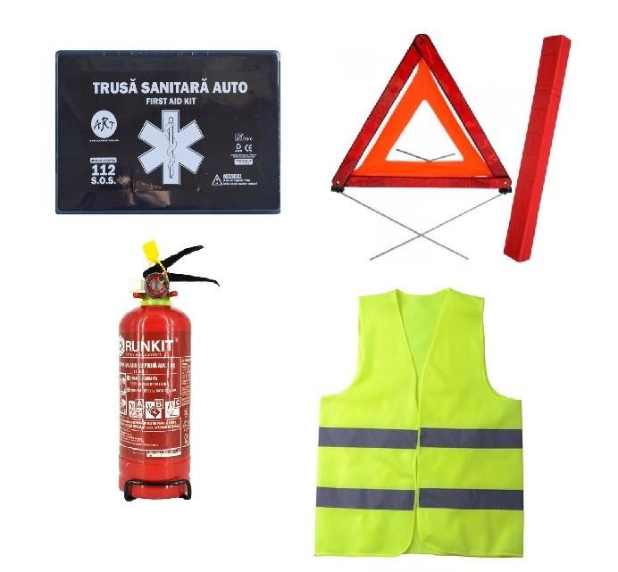 Pachet urgenta - trusa medicala, triunghi, stingator reincarcabil, vesta