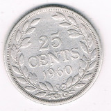 Moneda 25 cents 1960 - Liberia, 5,18 g argint 0,9000, Africa